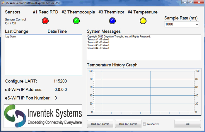 Screenshot of Cypress Wireless Temperature Sensor Application