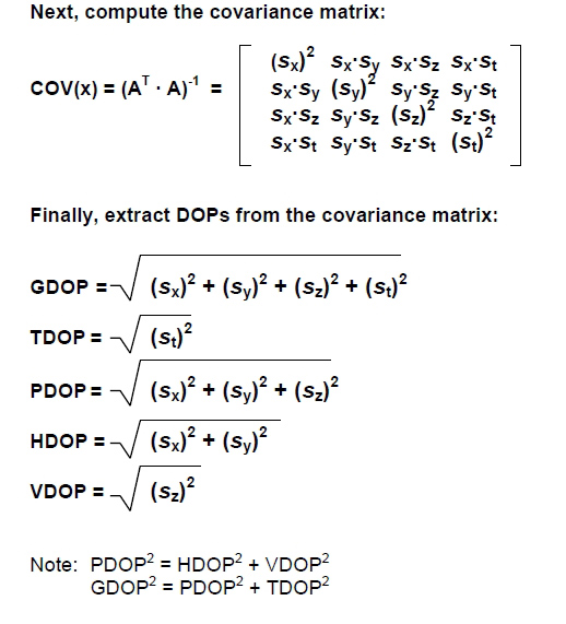 covariance matrix and DOPs from the covariance matrix