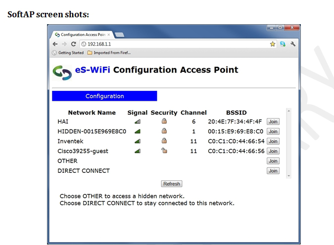 eS-WiFi Configuration Access Point User Interface
