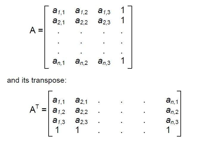 line of sight matrix A and its transpose